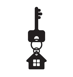 Key with house fob silhouette vector image