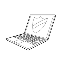 Laptop with protection shield icon outline style vector image
