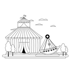 Line funny mechanical ship carnival game vector
