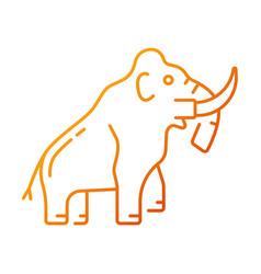 Mammoth skeleton gradient linear icon vector