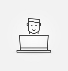 man working on laptop concept icon in thin vector image