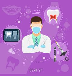 Medical doctor dentist square banner vector