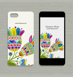 mobile phone design floral background vector image