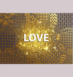 modern golden background love heart vector image