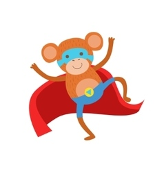 Monkey Animal Dressed As Superhero With A Cape vector