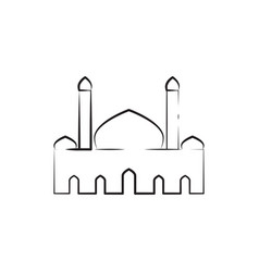 Mosque twin tower sketch outline graphic design vector