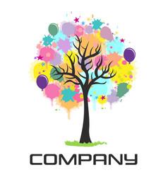 multicolored festive logo tree vector image