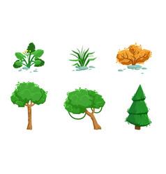 nature landscape elements set summer and autumn vector image
