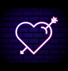 neon heart and arrow icon decoration vector image