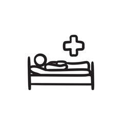 patient lying on bed sketch ico vector image
