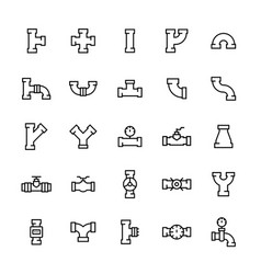 pipes and pipeline fittings icon set in thin line vector image