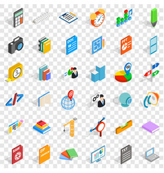 Printing icons set isometric style vector