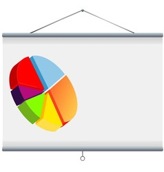 Projector screen with pie chart vector image