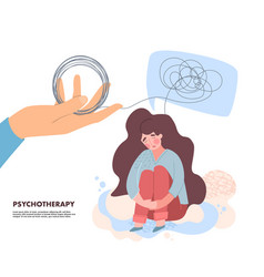 Psychotherapy for mental depression concept vector
