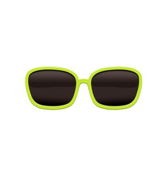 Rectangular sunglasses with black lenses and green vector