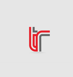 Red grey alphabet letter logo combination tr t r vector