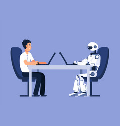 Robot and businessman robots vs human future vector