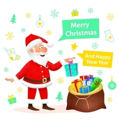 Santa Claus flat character isolated on white vector
