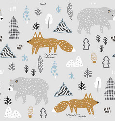 seamless childish forest pattern with bear and fox vector image