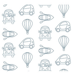 Seamless pattern made of cartoon linear transport vector