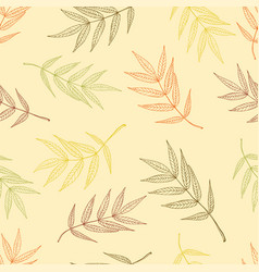 Seamless pattern of autumnal ashberry leaves vector