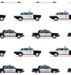 Seamless pattern of police cars vector