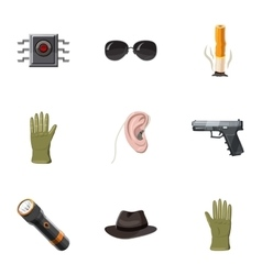 Secret agent icons set cartoon style vector