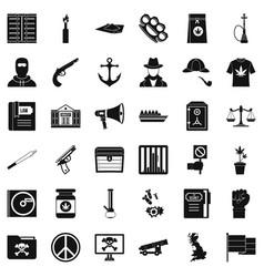 Secret crime icons set simple style vector