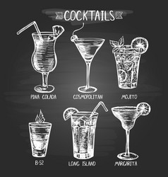 set hand drawn alcohol cocktails vector image