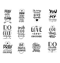 set of 12 hand lettering christian quotesyou vector image