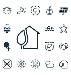 Set of 16 eco-friendly icons includes cigarette vector
