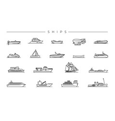 Ships concept line style icons set vector