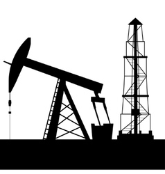 Silhouette of oil derrick vector image