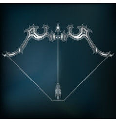 Silver bow and arrow zodiac Sagittarius sign vector image