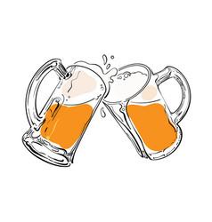 Sketch two toasting beer mugs cheers hand vector