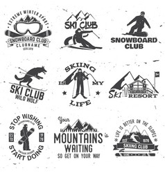 Ski and snowboard club emblem vector