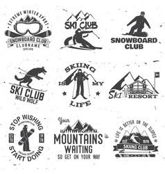 Ski and snowboard club emblem vector