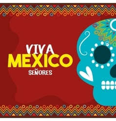 Skull viva mexico with red background vector