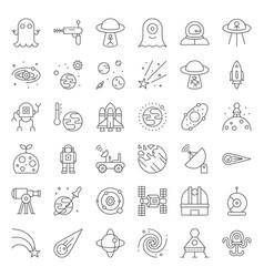 Space exploration icon set outline design vector