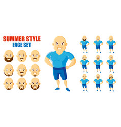 summer style man face set cartoon character vector image