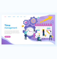 time management online web page with organizer vector image