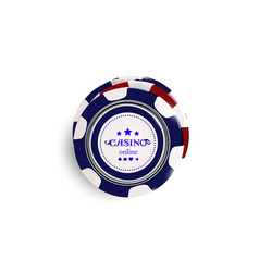top view of casino chips on white background vector image