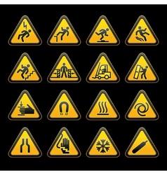 Triangular hazard signs vector