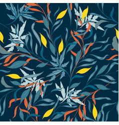 Tropical floral pattern with leaves for design vector