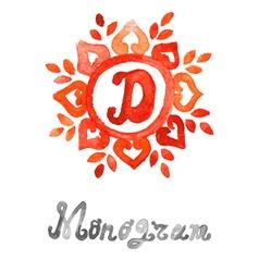 watercolor monogram vector image
