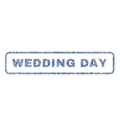 Wedding day textile stamp vector