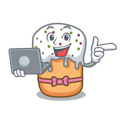 with laptop easter cake character cartoon vector image