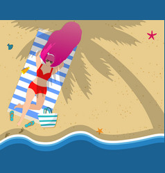 woman relaxing on beach leisure tan sparetime vector image