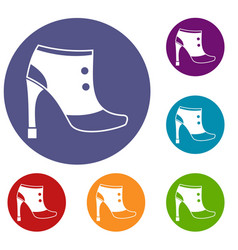 Women boots icons set vector
