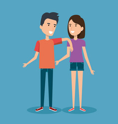 young happy couple gesturing smile on blue vector image